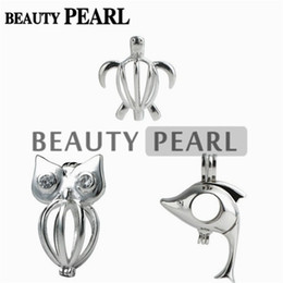 Wholesale 925 Silver Turtle - 3 Pieces Gift Cage 925 Sterling Silver Locket Love Wish Pearl Lovely Dolphin Turtle Owl Pendant Cage