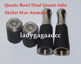 Wholesale Ego Bowl - Skillet Wax Atomizer Quartz Bowl Dual skillet quartz Coil atomizer Ego D atomizer burning device