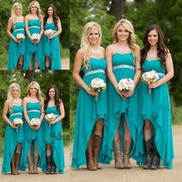 Wholesale Teal Strapless Bridesmaid Dresses - 2017 Country Bridesmaid Dresses Hunter Teal Turquoise Chiffon Sweetheart High Low Beaded Belt Party Wedding Guest Dress Maid of Honor Gowns