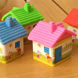 Wholesale mini eraser rubber - Wholesale-1pcs lot Freeshipping!New Novelty Cartoon Simulation house Mini Eraser Rubber Office and Study Eraser kids Gift