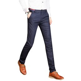 Wholesale Man Western Style Suits - Brand New Male Casual Dress Pants Slim Skinny Men Suit Pants Commercial Western-Style Business Mens Formal Trousers