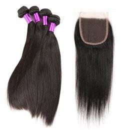 Wholesale Mocha Brazilian Straight - 10A Malaysian Straight Hair With Closure 4 Bundles With Closures Cheap Human Hair With Closure Straight Mocha Hair Weave Free shipping