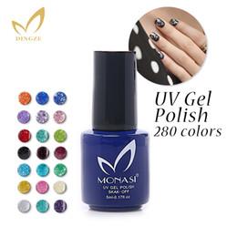 Wholesale Black Glitter Gel Nail Polish - Bling UV Glitter Color Gelpolish UV Gel Nail Polish 5ML Monasi Gel Polish 1PCS Free Shipping