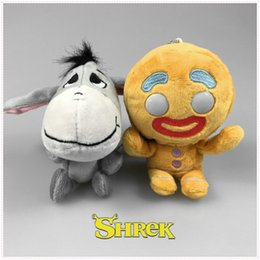 Wholesale Donkey Key Chain - Hot Sale 10cm Anime Shrek Gingerbread Man Donkey Soft Plush Toys Pendant Stuffed Doll Key Chains Wholesale