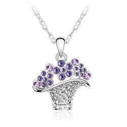 Wholesale Wholesale Jewelry Basket Pendants - Free Shipping new arrival flower basket crystal necklace,2016 woman fashion Austrian crystal element jewelry wholesale price