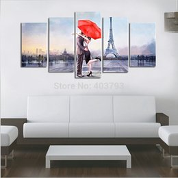 Wholesale Love Cartoon Painting - Valentine's Gift Canvas Love In Paris 5 Panels Huge Size Modern Oil Painting Handmade Wall Decor Art For Home Decoration