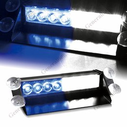 Wholesale 12v Blue Flashing Police Lights - DC12V 8 Led Car Police Strobe Flash Light Dash Emergency Warning 3 Flashing Lamp Blue White Daytime Running Lights