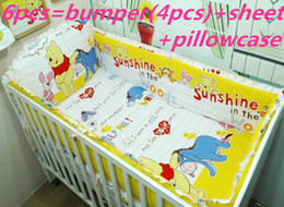 Wholesale Child Cot Beds - Promotion! 6PCS Baby Cot Bedding Sets Crib,Children Bedding Set,Crib Bedding (bumpers+sheet+pillow cover)