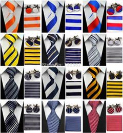 "Wholesale Mens Silk Handkerchiefs Wholesale - Wholesale-4"" 10cm Wide Mens Accessories Striped Pattern Business Silk Tie Set Hanky Handkerchief Cufflinks Necktie for Men"