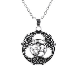 Wholesale Ohm Necklace - Myshape Jewelry Religious Necklace Aum Om Ohm Sanskrit Symbol Pendant necklace Adjustable Necklaces Gift for Man & Woman Fast Shipping