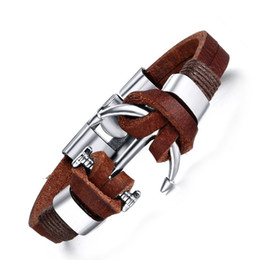 Wholesale Boat Buckle - 2016 Newest Genuine Leather Strips Alloy Vintage Bracelet Boat Anchor Buckle Charm Bangle Men Jewelry Trendy Jewellery