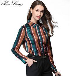 50a3c2380c19c OL Fashion Stripe Shirt Women Elegant Slim Long Sleeve Chiffon Blouse  Office Ladies Work Wear Tops Formal Shirts Femininas