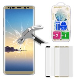 Wholesale Galaxy Note Prices - Best Price For Samsung Galaxy Note 8 Full Screen Cover 3D Curved Edges Front Tempered Glass Note8 Screen Protector Film With Retail Package