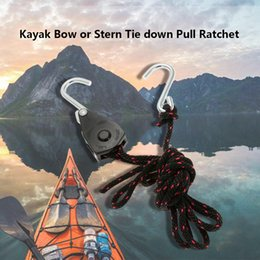 Ganci di legame di arco online-Hot New 8ft Canoa / Kayak Barca Easy Bow-Stern Cravatta Stern Strap Accessori Cricchetto con corda e gancio D534