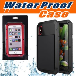 Wholesale iphone rain case - Waterproof Case Armor Defender Shockproof Extreme Aluminum Rain-Waterproof Metal Tempered Glass Cover For iPhone X 8 Plus 7 6 6S Retail Box
