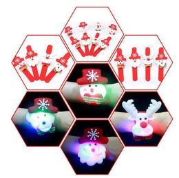 Wholesale led xmas bracelets - Christmas Slap Bracelets Gift Xmas Santa Claus Snowman Toy Slap Pat With LED Light Circle Bracelet Wristhand Decoration Ornament