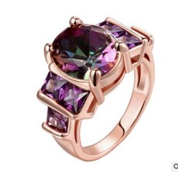Wholesale Yellow Gold Purple Diamond Rings - noble yellow gold filled inlay purple diamond crystgal lady's ring (168)