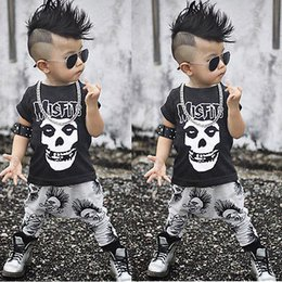 Wholesale girls skull t shirt - 2pcs Newborn Toddler kids short sleeve skull sets Infant Baby Boys Girls Clothes T-shirt Tops+Pants Outfits Set