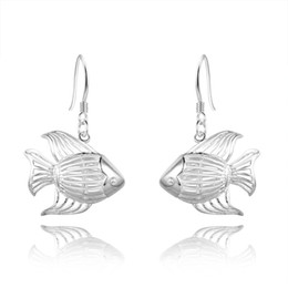 Wholesale 925 Silver Earring Fish - Free Shipping Fashion 925 Sterling Silver Hollow Fish Charm Dangling Earrings for Women