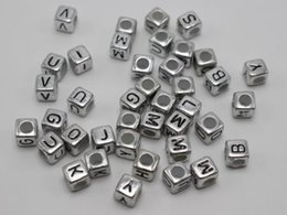 Wholesale 6mm Cube - Hot ! 250 pcs 6mm silver Black Acrylic Cube Letter Alphabet Beads spacer Big hole Beads