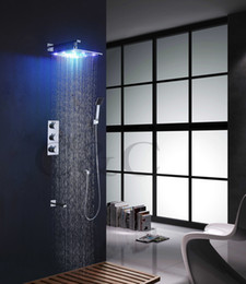 Wholesale Led Bathtub Faucet - Wall Mounted Chrome Thermostatic Bathtub Shower Faucet Set With 12 Inch 7 Color Solid Brass LED Shower Head & Brass Spout 007-12C-2S