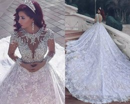 Wholesale Tornai Wedding Dress - 2017 New Pnina Tornai Wedding Dresses Dubai Arab Vintage Long Sleeve Bling Crystals Wedding Gowns Sequins Tulle Court Train Bridal Dress