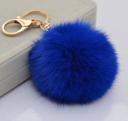 Wholesale Earring Man Ring - Real Rabbit Fur Keychain lovely 8CM Genuine Leather Fur Ball Gold Metal Key Chains Ball Plush Keychain Car Key ring Bag Earrings DHL Free