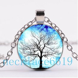 Wholesale Dj Jewelry - 10Pcs Tree of life Necklace Pendant,Christmas Gift,birthday Gift,Cabochon Glass Necklace,silver black Fashion Jewelry DJ-30