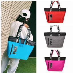 Wholesale Soft Travel - 4 Colors Pink Handbags Shoulder Bags Women Love Handbags Large Capacity Travel Duffle Striped Waterproof Beach Shoulder Bag CCA7602 10pcs