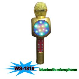 Wholesale Usb Conference Microphone - 2017 WS-1816 Bluetooth Microphone With LED Light Karaoke Artifact Hifi Sounds Wireless Speaker Conference Microphone For smartphones