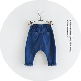 Wholesale Harem Pants Babies - wholesale New 2016 spring baby Girl boy pants denim cotton Triangle pocket leisure loose harem pants BH1938