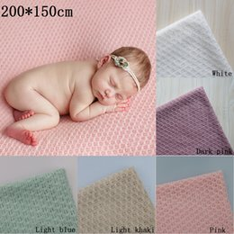 Wholesale Blue Photography Backdrops - 200*150cm Knitted Acrylic thin Fabric Newborn Baby Photography Photo Props Backdrop Blanket Newborn Basket Stuffer