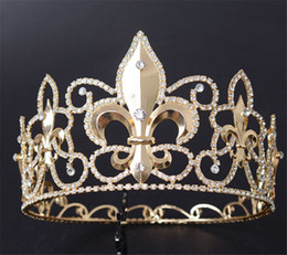Wholesale Pageant Queen Jewelry - Vintage Wedding Queen Crown Tiara Bridal Crystal Rhinestone Headpiece Headband Hair Accessories Jewelry Pageant Full Round Crown Tall Tiara