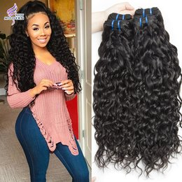 Wholesale Indian Wavy - Wet and Wavy Brazilian Human Hair Weave Bundles Unprocessed 3 Bundles Modern Show Brazilian Virgin Hair Water Wave Hair Extensions