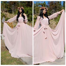 Wholesale Cheap Abayas - Long Sleeves Chiffon Evening Dresses Pink Abaya Dubai 2016 Modest Women Formal Dress Maxi Custom Prom Party Gowns Cheap
