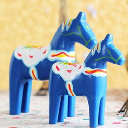 Wholesale Painting Articles - 2pcs set Zakka Grocery Wooden Crafts Animal Articles Sweden Dala Horse Painted Red for home decor Christmas Gift