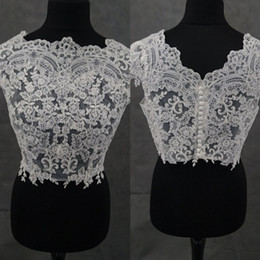Wholesale Lace Wedding Dress Coats - 2018 Newest Bridal Wraps Cap Sleeves Bridal Coat Lace Jackets Appliqued Wedding Capes Bolero Jacket Wedding Dress Plus Size Accessories