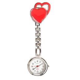 Enfermera reloj acero online-Doble corazón Enfermera Reloj de Cuarzo Doctor Relojes de Bolsillo de Acero Reloj de Bolsillo Dulce Corazón Colgando Enfermera Relojes de Moda relojes médicos
