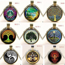 Wholesale Bronze Slide - 70styles Tree of Life Vintage Silver Brown Glasses Pendant Necklace Long PC Retro Women Lady Girl Cabochon Bronze Glass Chain Pendant