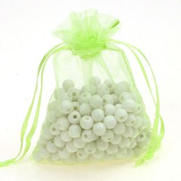 Wholesale Coffee Organza Bags - 9x12cm Light Green Organza Jewelry Bags Christmas Gift Bags Coffee Beans Sacks Customed Logo Printed 500pcs lot Wholesale