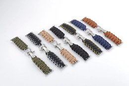 Wholesale Nylon Cord Bracelets - Durable Handmade Nylon Parachute Cord Adventure Travel Survival Watch Strap Bracelet Watch Band with Adapter for Apple Watch 42mm 38mm