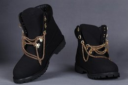 Wholesale Solid Flat Gold Chains - Wholesale-tims 2016 new genuine leather men boots Gold chains snow boot Martin boots leather boots man woman Outdoor waterproof shoes