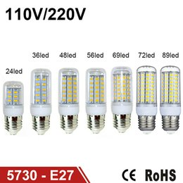 Wholesale E27 E14 G9 48 Led - LED Light Warm White E27 LED Bulbs 7W 9W 12W 15W 18W 3000 Lumen Cree SMD 5730 With Cover 48 leds GU10 E14 B22 G9 Led lights Corn Lighting