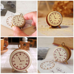 Wholesale Small Wooden Clocks - Wholesale- Funny Mini Vintage Retro Style Clock Small Wooden Stamp DIY Decal Stamps for Scrapbooking Stationery Toy