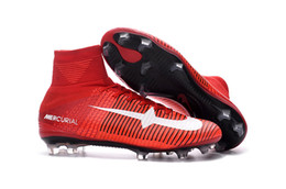 Wholesale High Top Boots For Women - 2016 Mercurial superfly red soccer shoes for men women FG kids soccer cleats high top kid football boots shoe 35-45 sports shoe original