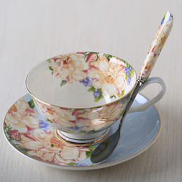 Wholesale Ceramic Coffee Mug Sets - 2017 New Wholesale Fashion Classic Bone China Ceramic Mugs England Royal Coffee Tea Cups And Saucers Set Gife Box