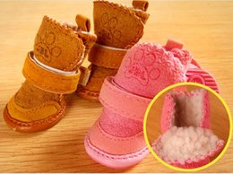 Wholesale Cotton Coffee Sock - 2016 High quality red Christmas Warm Cozy Pet Dog Boots pink ,coffee dog snow boots Puppy Shoes For Small Dog free shipping