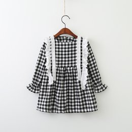 Wholesale Baby White Plaid Dress - Everweekend Children Girls Black and White Plaid Cotton Long Sleeves Autumn Dress Cute Baby Lace Winter Dress Clothing Hot Sale