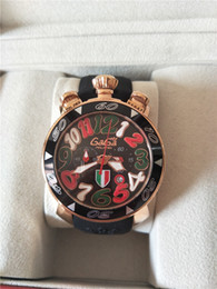 Wholesale Digital Hands Watch - luxury gaga watch large dial 3D number six hands chronograph complete calendar quartz watch for men black rubber strap case Italy flag