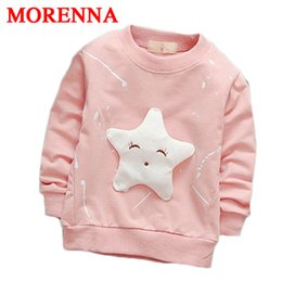 Wholesale Stars Baby Clothing - MORENNA 2017 Children Boy's Cartoon Long Sleeved T-shirt All-match Fashion Jacket Smile Face Star Kids Clothing Baby Girl Clothes